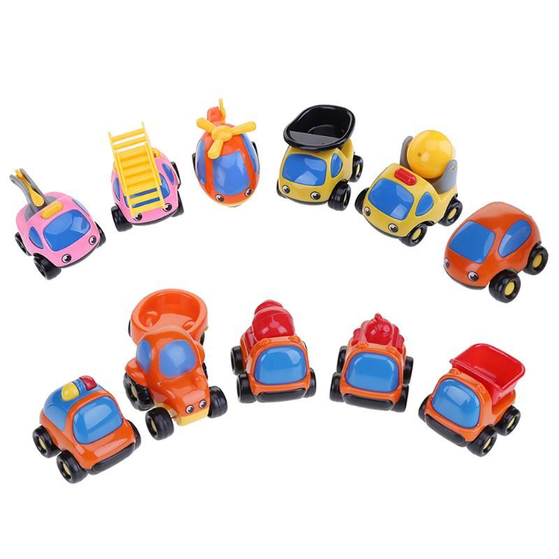6pcs/set Mini Plastic Engineering Truck Friction Vehicles Model Car Plane Cute Kids Toys Children Gift Educational Toy