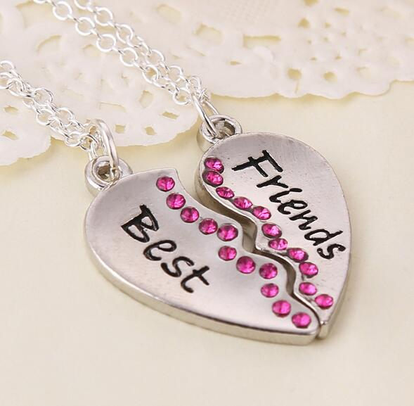 one set fashion two parts rhodium plated heart dark pink crystal stone pendant best friend necklace xy318 image