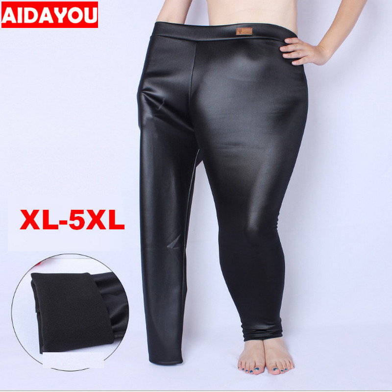 Womens PU Leggings Glitter Faux Leather  High Waist Good Cat Stretch Legging Pants Cool Trousers  Plus Size 5xl Ouc1243