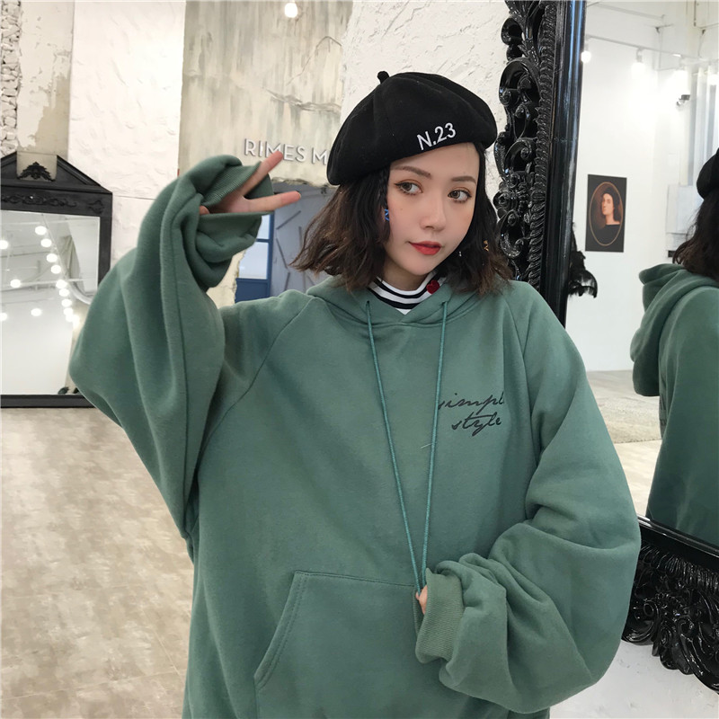 Hoodies Women Winter Elegant Trendy Leisure Hooded Solid Womens Pullover Students Letter Printed Long Sleeve Ladies Sweatshirts 17