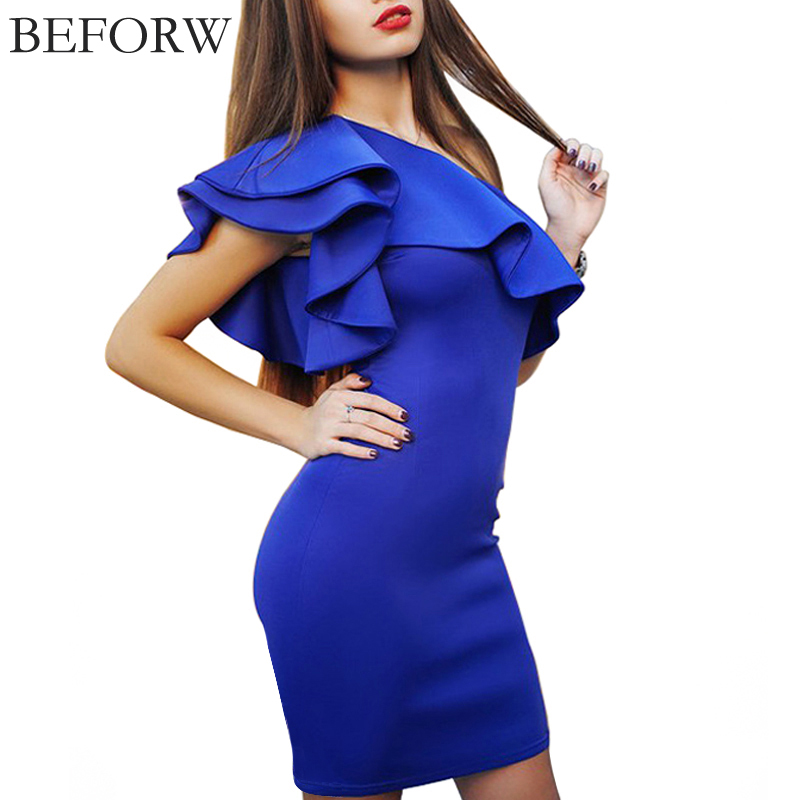 Buy Cheap BEFORW Sexy Women Dress Dresses Sexy Shoulder Flouncing Package Hip Slim Solid Color Fashion Sexy Casual Dress Dresses