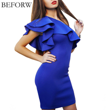 BEFORW Sexy Women Dress Dresses Sexy Shoulder Flouncing Package Hip Slim Solid Color Fashion Sexy Casual Dress Dresses