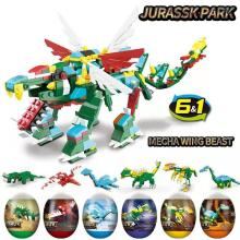 6-in-1 assembled building block toy dinosaur robot Jurassic world brick singular egg small particles amazing model