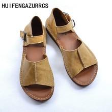 HUIFENGAZURRCS-Verë sandale të vërteta prej lëkure të bëra me dorë, vajza retro art mori qep këpucë të sheshta pa frymë, këpucë të modës, 2 ngjyra