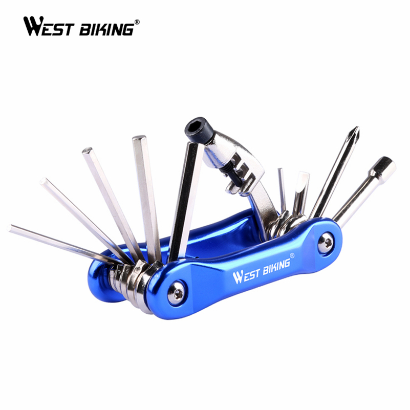 WEST BIKING 10 In 1 Multifunction Bicycle Repair Tools Maintenance Kit Carbon Steel Cycling Folding Wrench Ferramenta Bike Tools