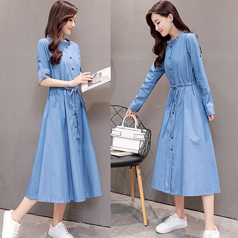 Dark Cotone Del Elegante Nuovo Vestito Di Cowboy blue Moda Blu Alla Xxl Una  Autunno Midi Camicia Allentati Delle Jeans ... 286654218f3d
