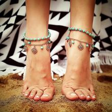 Handmade Beaded Anklet Fashion Beach for Women Retro Imitation Blue Drill Pendant