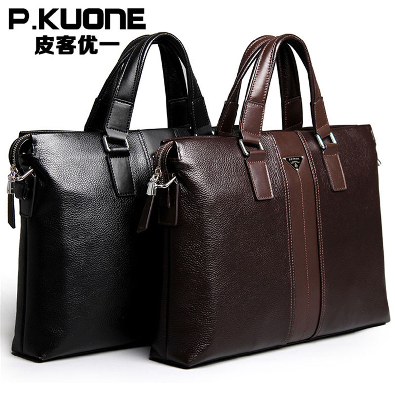P.kuone Young Fashion Man Bag Leather Men Briefcase Handbag, Men Shoulder Bag, Business Work Laptop Bag,  New Fashion Briefcase