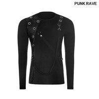 Gothic Elastic Cotton Pu Leather t shirt fashion leisure Corns Decoration Condole belt slim men T shirt tops PUNK RAVE WT 510TCM