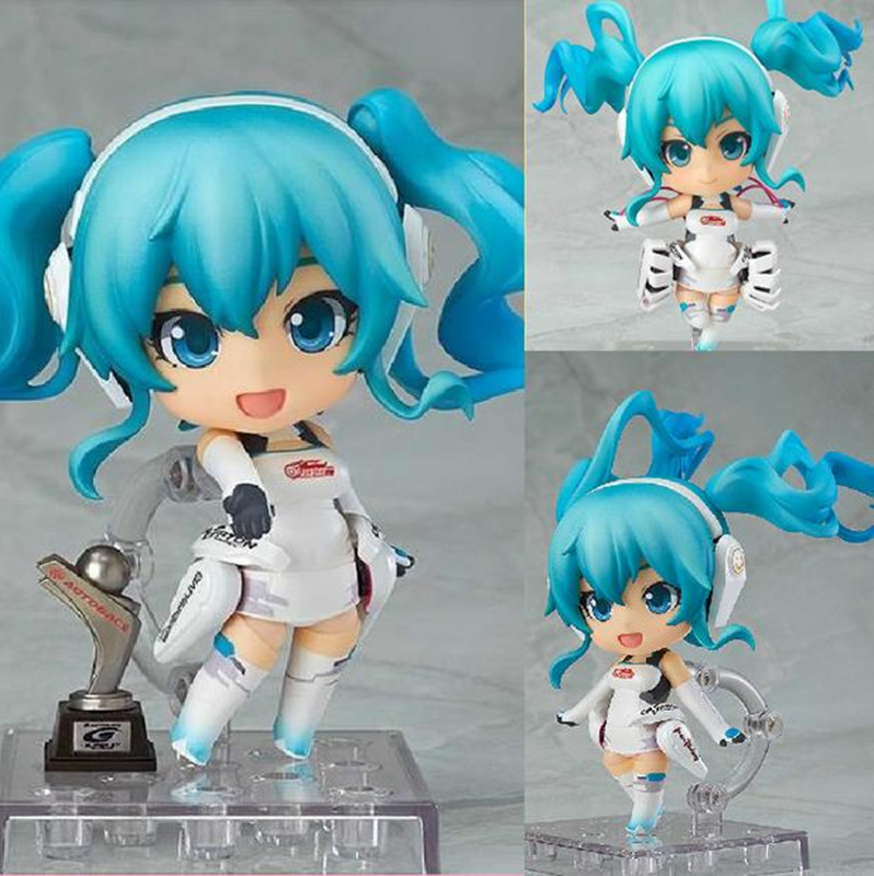 Cute 4 Nendoroid Vocaloid Hatsune Miku Racing Miku 2014 Ver. PVC Action Figure Set Model Collection Toy #414 Hot cute 10cm nendoroid hatsune miku mid autumn miku pvc action figure collection model toy doll christmas birthday gift with box