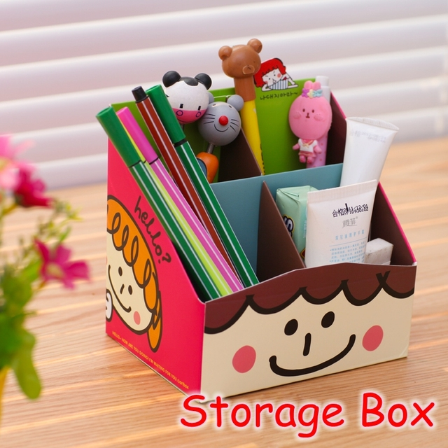 10 Pieces Lot Kawaii School Stationery Office Cartoon Diy Desk Organizer Box
