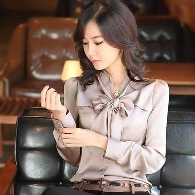 S-XXXL 2016 Autumn New Vintage Slim Satin Silk Ruffles Bow Ties Long Sleeve Women Blouse Shirt OL Formal Tops Blusas Plus Size