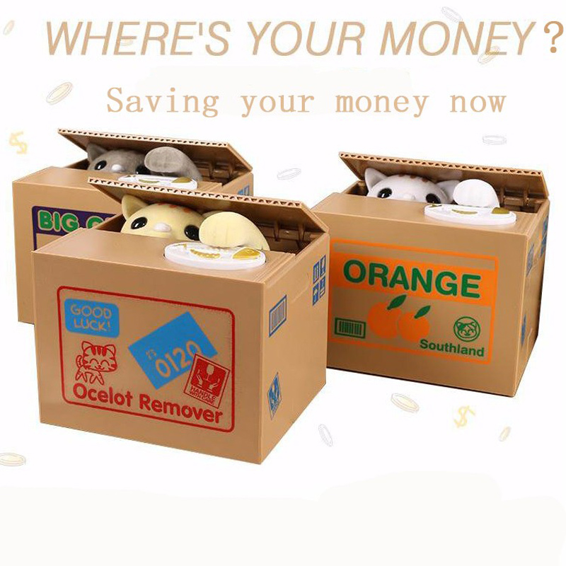 Automated Greedy Cat Stealing Money Piggy Bank Coins Antistress Toys Funny Pratical Gift Useless Box Fun For Children Game Toys