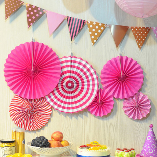 6Pcs Set Colorful Wheel Tissue Paper Fans Flowers Wedding Decoration Birthday Party Decorations Kids Home