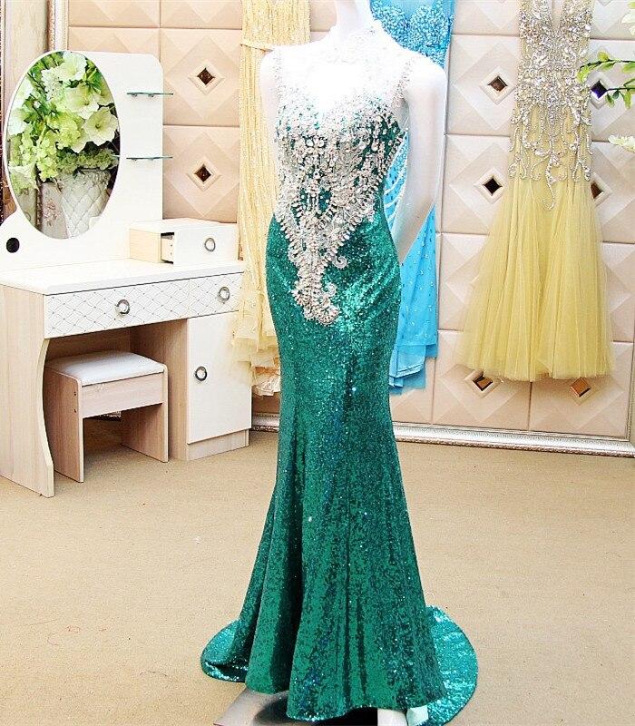Custom Made Sexy 2015 New Fashion Mermaid Sweetheart Backless Sequins Crystal Beading Mermaid   Evening     Dress   Free Shipping XE54