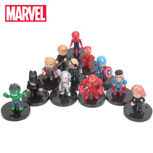 4-5cm 12st / set Marvel Leksaker Avengers Figur Set Q Version Iron Man Thor Hulk Captain America Spiderman Ultron Modell Doll Toy
