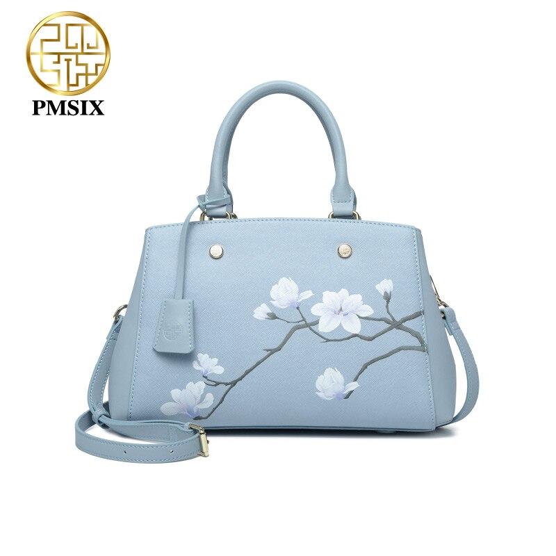 Pmsix luxurious ladies bags real split leather printing Flowers Handbags for women light blue tote bag