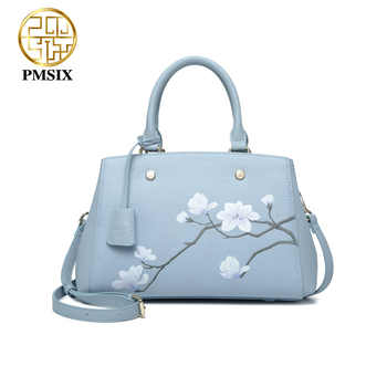 Pmsix luxurious ladies bags real split leather printing Flowers Handbags for women  light blue tote bag High quality classic bag - DISCOUNT ITEM  45% OFF All Category