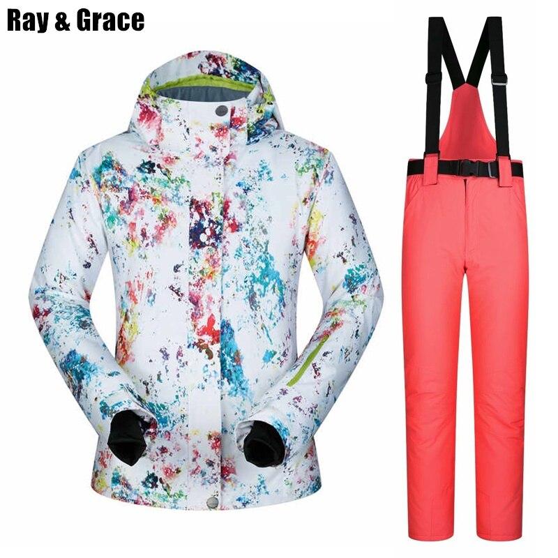 RAY GRACE hiver femmes Ski costume pantalon veste thermique tenue de ville respirant imperméable veste neige femme snowboard