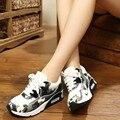 NOVA Emagrecimento Sapatos de Couro Da Forma Das Mulheres Sapatos Casuais Mulheres Senhora Balanço Sapatos de Fitness Respirável de Alta Qualidade Sapatos Femininos