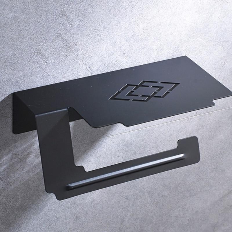 купить Toilet Paper Holder Tissue Metal Stainless Steel Antique Black Paper Towel Roll Holder with Mobile Shelf for WC Bathroom Kitchen по цене 1189.28 рублей