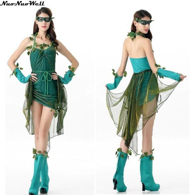 f075dc4d04 Sexy Adult Green elf Demon Dress Halloween Neverland Tinkerbell Garden  Lovely Woodland Women Little Fairy Costume Cosplay Dress