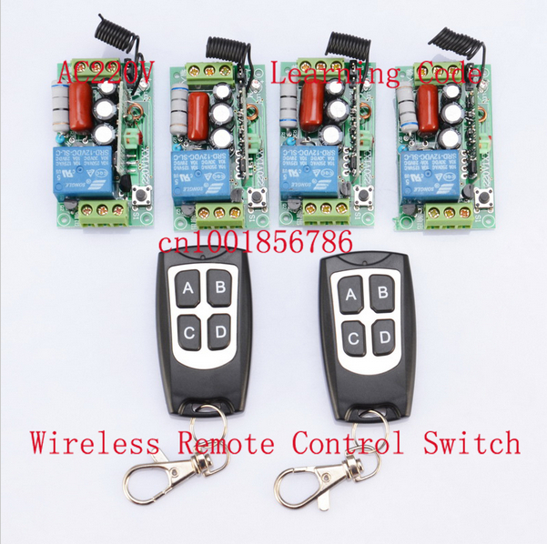 ac 220v 1ch 10a wireless remote control power switch system receiver & remote controller for light lamp led 315 433mhz Hot !!!220V Wireless Remote Controller Wireless Power Switch System 4 Receiver& 2 Transmitter 1CH 10A Light Lamp LED SMD ON OFF