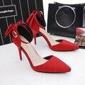 Bombas 2017 novo laço de cetim sapatos de salto alto fino feminino com sapatos bicudos lace sexy com sandálias sapatos de casamento vermelho
