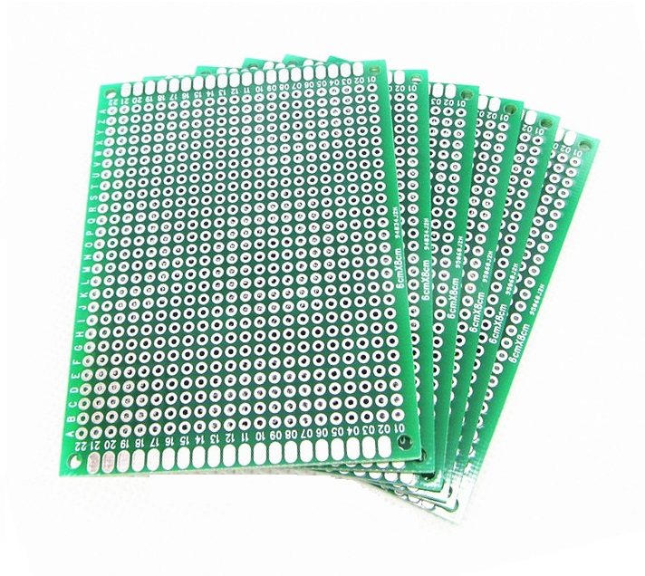 2PCS 6X8cm 6*8cm Double Side Prototype Pcb Breadboard Universal For Arduino 2.54mm Glass Fiber Practice DIY Kit Tinned HASL