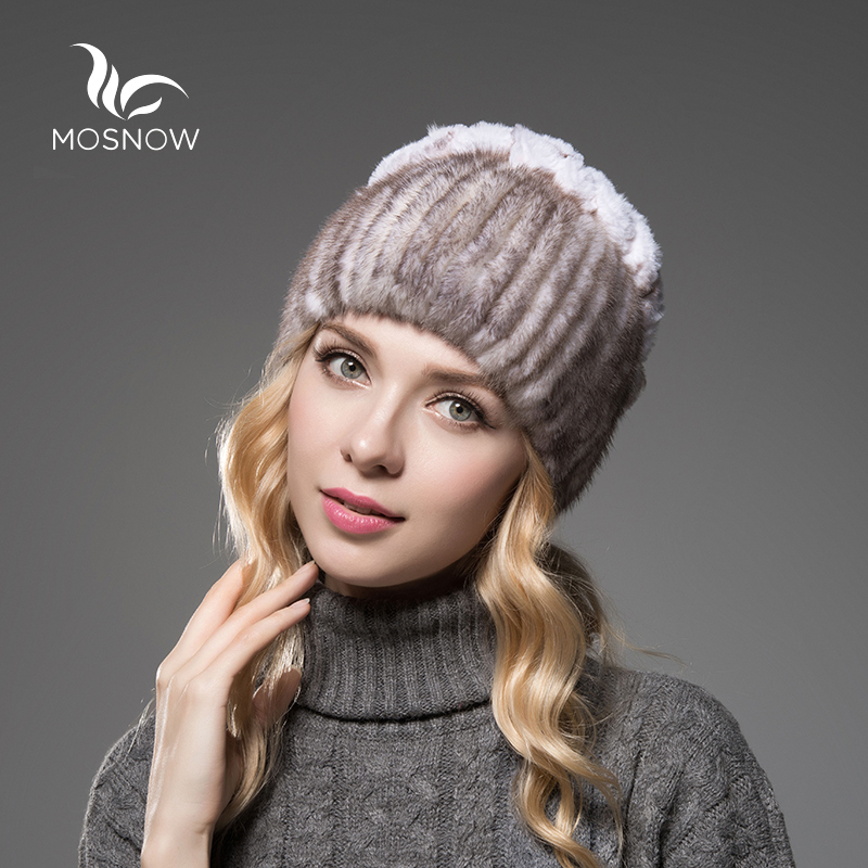 MOSNOW 2018 New Warm Luxury Mink Fur Winter Hats For Women Female Rex Rabbit Rose Flower High Quality Knitted   Skullies     Beanies
