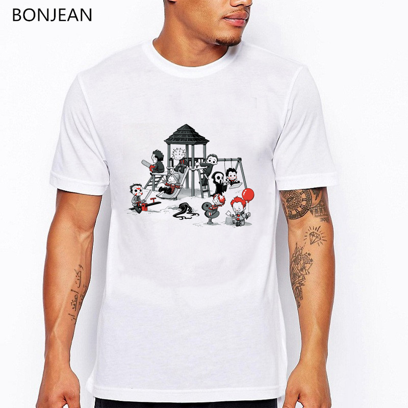 Horror Park t shirt men funny t shirts cute clown printed tshirt homme anime shirt mens tshirts white oversized tee shirt top in T Shirts from Men 39 s Clothing