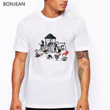 цены Horror Park t shirt men funny t shirts cute clown printed tshirt homme anime shirt mens tshirts white oversized tee shirt top