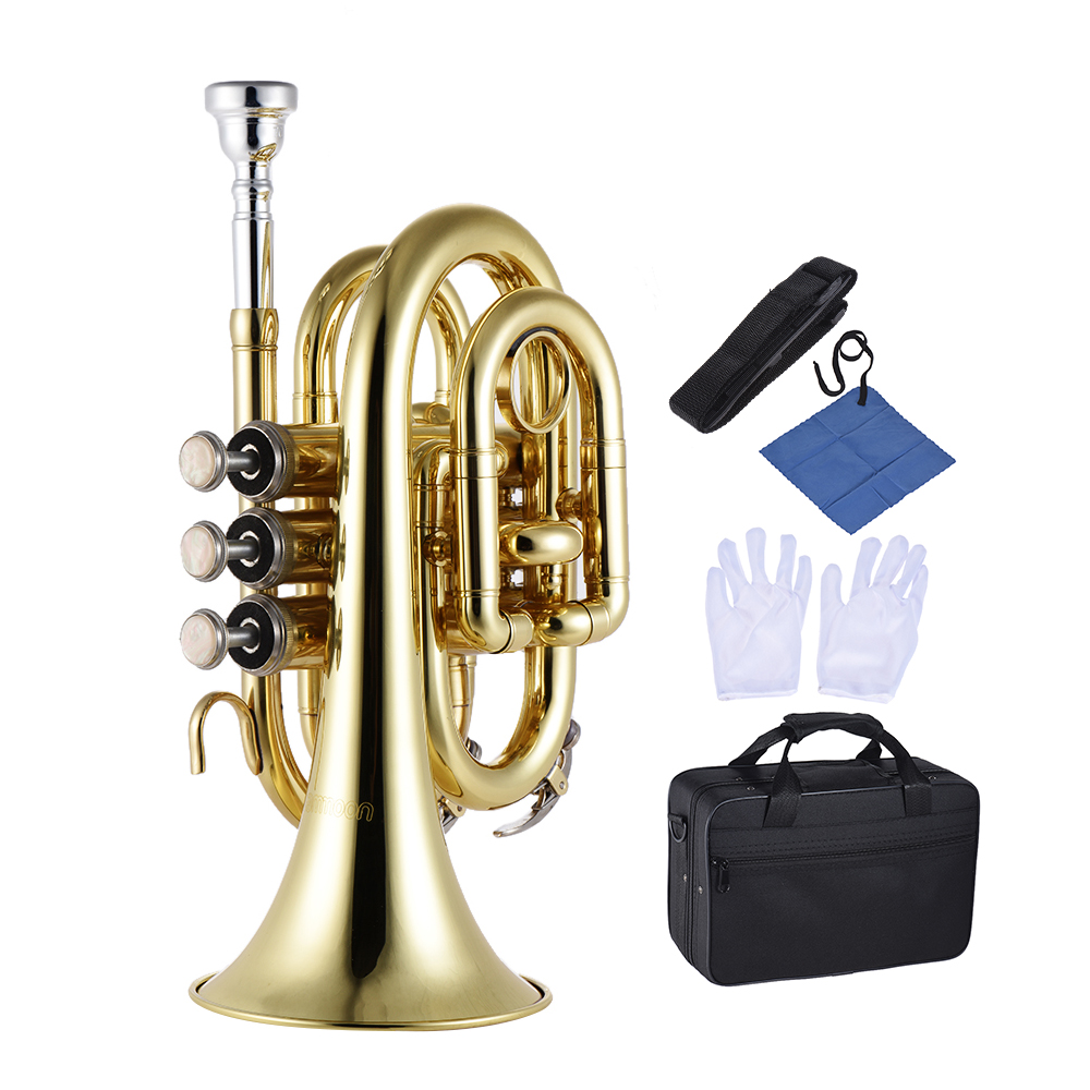 Mini Pocket Trumpet Bb Flat Brass Wind Instrument with Mouthpiece Gloves Cleaning Cloth Carrying Case
