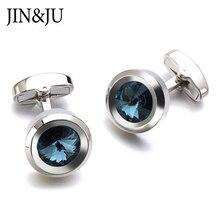 JIN&JU High Quality Dark Blue Crystal Cufflinks Luxury Cubic Zircon Design Lawyer Groom Wedding For Mens Shirt Cuff Links