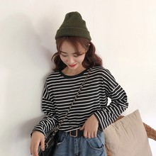Coton T Shirt Women 2019 Autumn Fashion Striped Long Sleeve T-shirt Femme Loose Korean Casual O-neck T-shirt For Women Tops