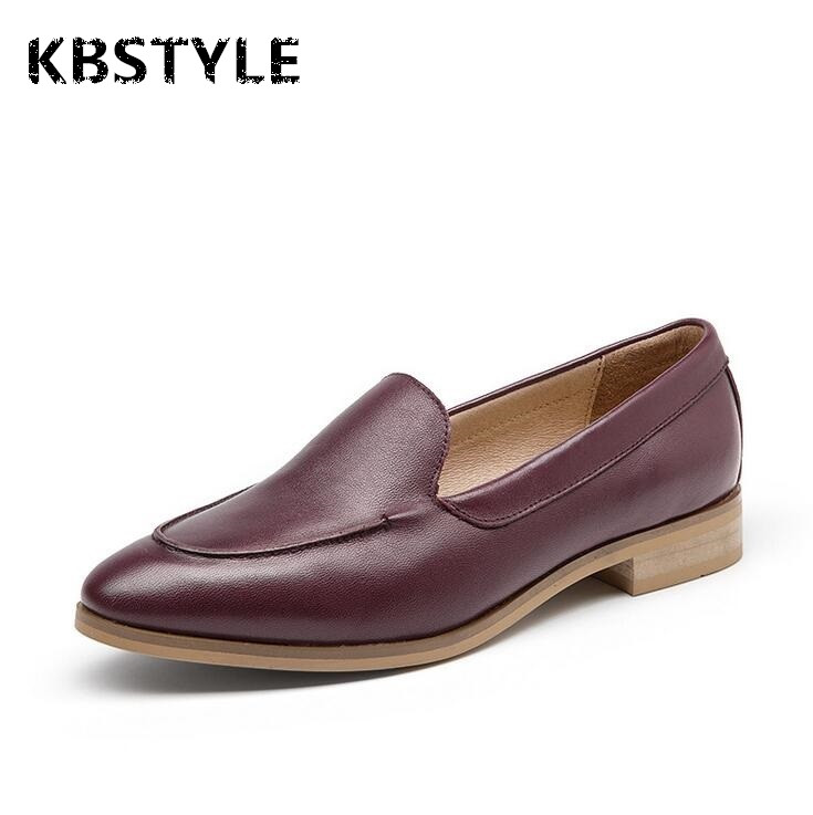 ФОТО 2017 Autumn And Winter Flats Shoes Women Genuine Leather Shoes Woman Handmade Loafers Slip On Rubber Soles Flats Shoes