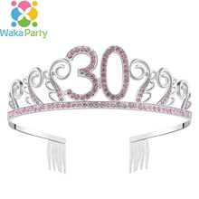 Crystal Queen 30 Birthday Crown Tiara for Women 30 year old birthday gifts Happy 30th Birthday Party Decorations Ideas Supplies(China)