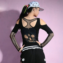 New Fashion Women hip hop top dance Tops Cutout Skull Female Jazz ds costume per