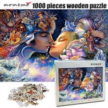 MOMEMO Kiss of Love Adult Wooden 500/1000 Pieces Jigsaw Puzzle Pretty Picture Challenging Valentines Day Gift Home Decor