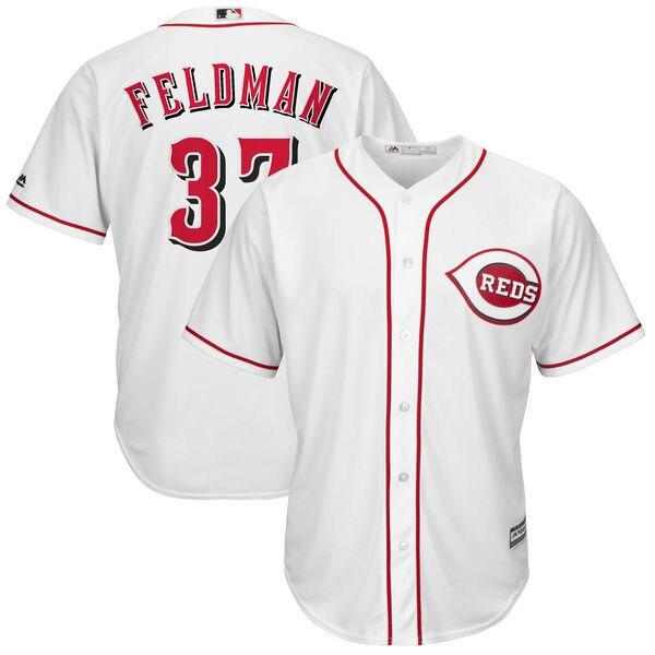 MLB Mens Cincinnati Reds Scott Feldman Baseball Home White Cool Base Replica Player Jersey
