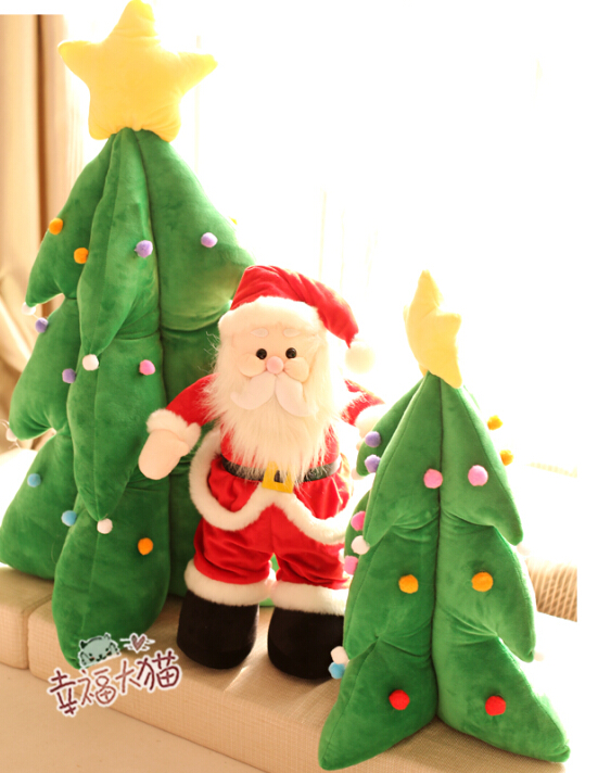 Christmas Day Gift for kids 1pc 35cm Santa Claus christmas trees plush doll creative novelty romantic girl stuffed toy