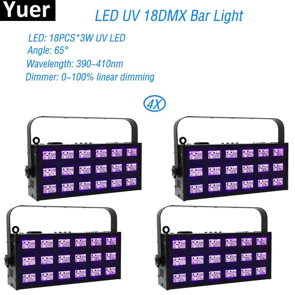 4Pcs/Lot 18x3W LED UV Stage Effect Lighting DMX512 LED Violet Projection Lighting For DJ Disco Party Nightclub Event Show Stage