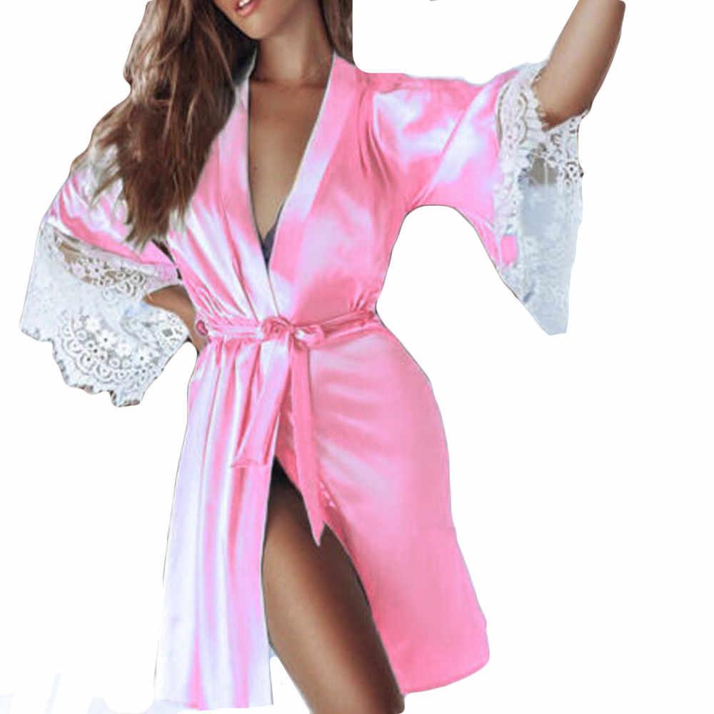 נשים הלבשה תחתונה סקסי משי קימונו הלבשה Babydoll תחרה הלבשה תחתונה חגורת אמבטיה חלוק V-צוואר Nightwear חלוק בתוספת גודל נשים