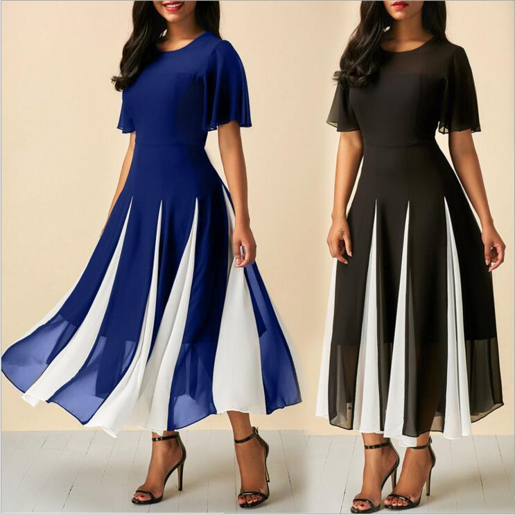 women summer elegant dresses Vestidos Black and blue chiffon patchwork round-neck dress