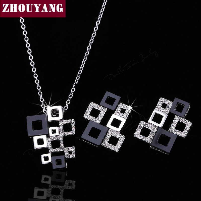 ZHOUYANG ZYS232 White Geometric Set Silver Color Jewelry Necklace Earring Set Rhinestone Made with Austrian Crystals graceful rhinestone geometric bullet necklace for women