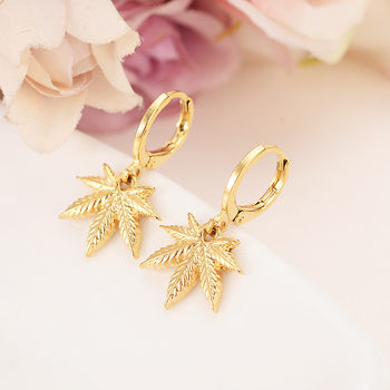 gold color drop earring Africa Women Party Gift Cannabiss Weed Marijuan Leaf charms women girls Fine Jewelry gift drop shipping