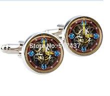 1 pair New Fashion round photo cufflinks Steampunk watch part cufflinks men shirt cuffs button ladies silver cufflinks