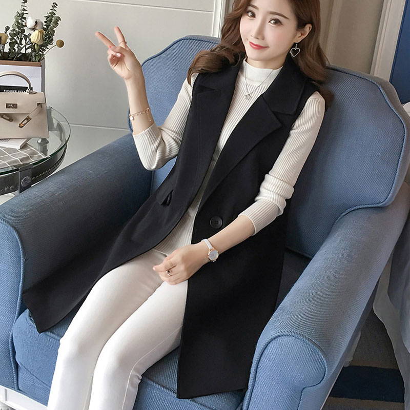 Office Lady Black Casual Long Vest Women Elegant Pocket Coat Sleeveless Vest Jackets Outerwear Ladies Slim Waistcoat