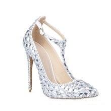 LSDN-0904; Новинка; модные тонкие туфли-лодочки на высоком каблуке с острым носком; пикантные свадебные туфли на высоком каблуке с серебристыми кристаллами и пуговицами