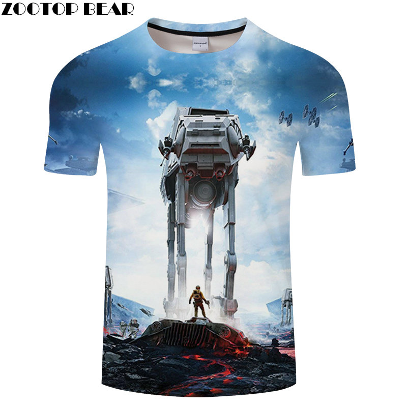 Robot Anime Men Shirt 3D Print Star Wars Lego Shirts Quick Dry Male Fitness Breathable Summer Hot Sell Casual Tops ZOOTOPBEAR